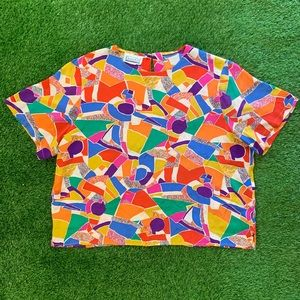 Vintage Christie and Jill Colorful Blouse XL
